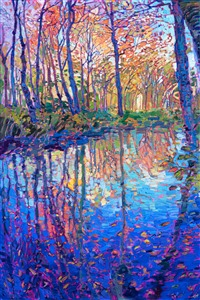 New England oil painting of fall color near the White Mountains, by modern impressionist Erin Hanson.