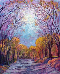 Embroidered Light, original oil painting by Erin Hanson
