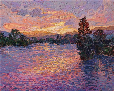 A modern impressionist painting inspired by Monet light, painted by artist Erin Hanson.