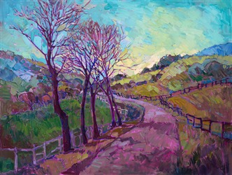 Modern expressionist landscape painting in oil, by contemporary master Erin Hanson