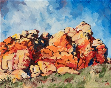 The first Open Impressionism painting, created in Red Rock Canyon, Nevada, by Erin Hanson.