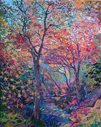 Sogenchi Garden Japanese maple trees oil painting by modern impressionist Erin Hanson