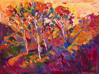 Expressionist contemporary and bold painting full of color and motion, by Erin Hanson.