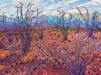 Big Bend National Park ocotillo cactus painting by modern impressionist Erin Hanson.