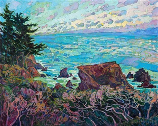 Mendocino California coastline oil painting for impressionism art collectors.