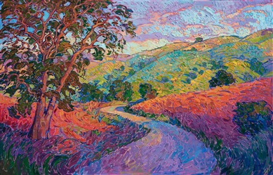 Paso Robles winding road oil painting by modern impressionist landscape artist Erin Hanson.