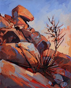 Joshua Tree rocky landscape with yucca, by Erin Hanson