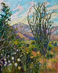 Borrego Springs super bloom desert landscape painting by Erin Hanson