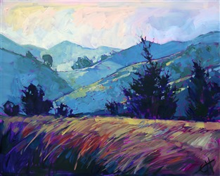 Painted light in California wine country, original oil painting by Erin Hanson