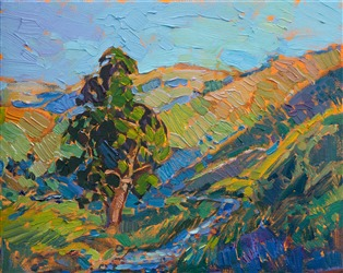 A small 8x10 oil painting of an oak and stream, by contemporary impressionist Erin Hanson.