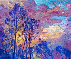 Oil painting of the view from The Erin Hanson Gallery with Eucalyptus trees at sunset by contemporary artist Erin Hanson