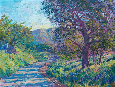 Oil painting of California wine country oak tree by contemporary impressionist artist Erin Hanson