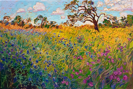 Texas bluebonnets wildflowers oil painting for sale by landscape impressionist Erin Hanson