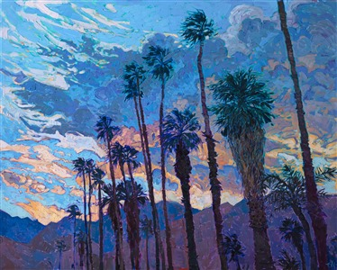 California desert sunset painting with palm trees and mountains