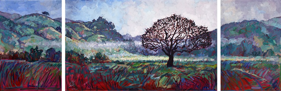 Triptych of Paso Robles, California wine country, oil painting by Erin Hanson