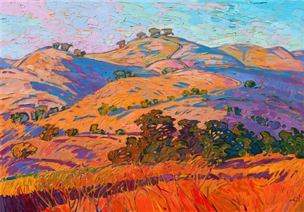 Paso Robles wine country landscape summer gold colors - impressionist oil painting by Erin Hanson