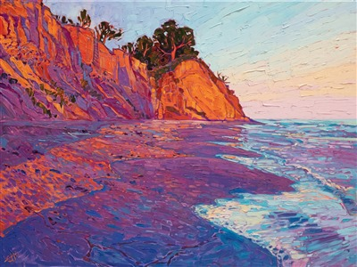 Loon Point Santa Barbara colorful coastal oil painting by modern impressionist Erin Hanson