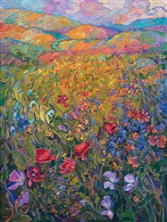 Colorful wildflower oil painting by modern impressionist Erin Hanson.