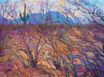 Oil painting of Arizona desert landscape by contemporary impressionist artist Erin Hanson