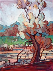 Smoke tree oil painting by desert artist and adventurer Erin Hanson