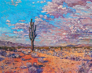 Western art painting of an Arizona Saguaro, by contemporary impressionist artist Erin Hanson
