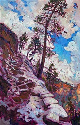 Snowy trail in Zion National Park, landscape oil painting by Erin Hanson