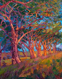 Scarlet Light, modern stylized landscape painting with thick, painterly brush strokes, by Erin Hanson.