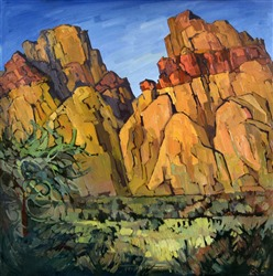 Rainbow Mountains, early oil painting landscape by Erin Hanson