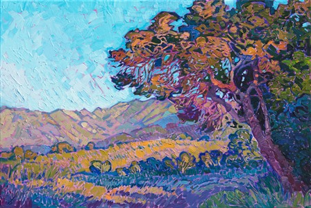 Paso Robles oak tree oil painting by American impressionist Erin Hanson