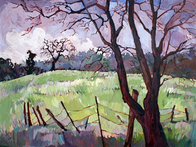 Cool winter colors of Paso Robles, oil painting by Erin Hanson