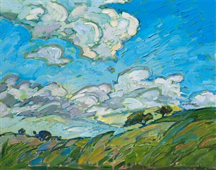Skyscape oil painting of Paso Robles by contemporary artist Erin Hanson