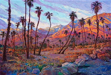 Palm Springs desert landscape at sunrise mountains, original oil painting for sale by Erin Hanson