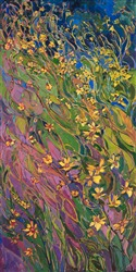 Oil painting of abstract wildflowers by contemporary impressionist artist Erin Hanson