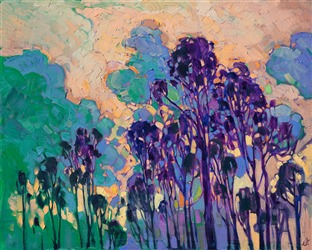 Eucalyptus tree oil painting with a colorful sky in thick oil paints, by Erin Hanson.
