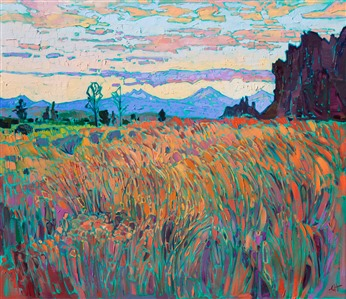 Original oil painting of Smith Rock near Bend Oregon, by modern impressionist Erin Hanson