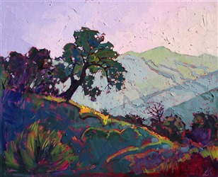 Paso Robles painted light rays, by California impressionism painter Erin Hanson