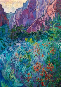 Landscape oil painting of Zion National Park's Kolob Canyon, by impressionist painter Erin Hanson