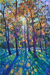 Woodlands pines original oil painting for Texas landscape art collectors