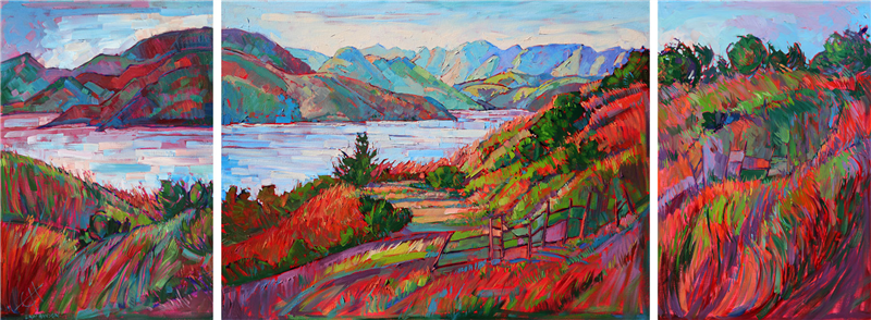Triptych oil painting on panels, by California painter Erin Hanson