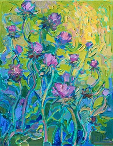 Texas thistles purple wildflowers painting by Erin Hanson