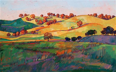 California impressionism modern style of painting in oils, by Erin Hanson