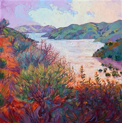 Whale Rock Reservoir landscape painting in vivid color and texture, by Erin Hanson