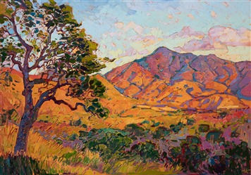 Mountains and oaks - original oil painting for sale for collectors of contemporary impressionism.