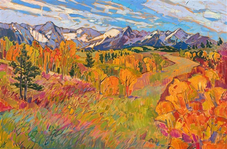 Colorado autumn colors original oil painting in expressionist color, by Erin Hanson