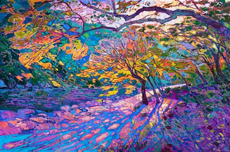 Japanese maple trees abstract oil painting by American impressionist Erin Hanson.