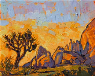 Joshua Tree National Park original oil painting for sale 8x10.