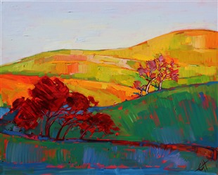 Paso Robles oak tree landscape oil painting by Erin Hanson