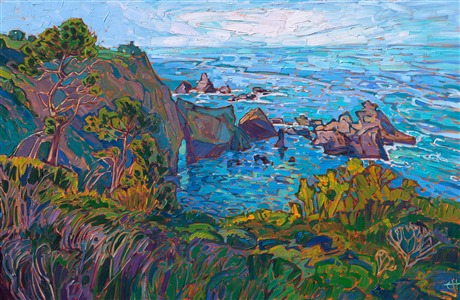 Mendocino California coastal oil painting in a modern impressionism style by Erin Hanson