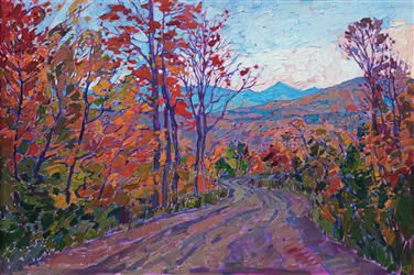 Quill Hill viewpoint landscape painting from Rangeley Maine, painted by modern impressionist Erin Hanson.