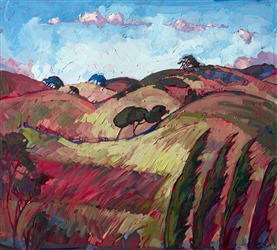 Paso Robles oil painting landscape with Cypress trees blowing in the wind by contemporary artist Erin Hanson